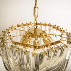 Venini Pair Of Impressive Venini Light Fixtures Curved Crystal Glass and Gilt Brass - 1039385