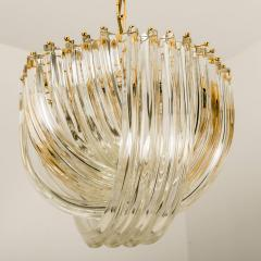 Venini Pair Of Impressive Venini Light Fixtures Curved Crystal Glass and Gilt Brass - 1039387