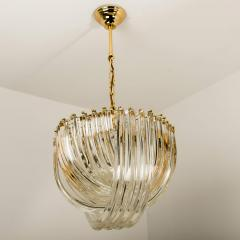Venini Pair Of Impressive Venini Light Fixtures Curved Crystal Glass and Gilt Brass - 1039388