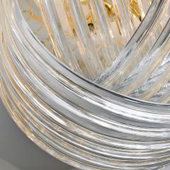 Venini Pair Of Impressive Venini Light Fixtures Curved Crystal Glass and Gilt Brass - 1039390