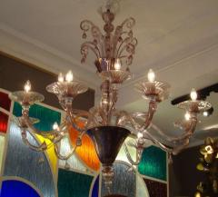 Venini Pair of 1970s chandeliers in amethyst blown glass by Venini - 909364