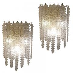 Venini Pair of Large Murano Glass Sconces by Venini - 587137