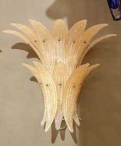 Venini Pair of Mid Century Modern Beige Murano glass Pineapple sconces by Venini 1970s - 1326855