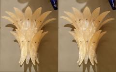 Venini Pair of Mid Century Modern Beige Murano glass Pineapple sconces by Venini 1970s - 1326860