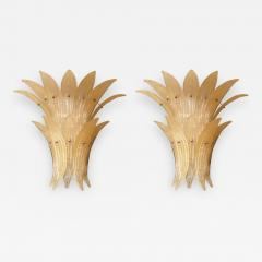 Venini Pair of Mid Century Modern Beige Murano glass Pineapple sconces by Venini 1970s - 1327803