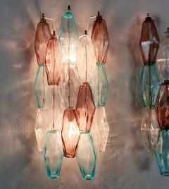Venini Pair of Mid Century Modern geometric Murano glass sconces Venini Italy 1970s - 2123694