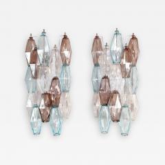 Venini Pair of Mid Century Modern geometric Murano glass sconces Venini Italy 1970s - 2133310