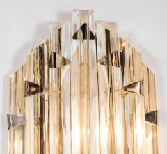 Venini Pair of Mid Century Modernist Sconces by Venini in Pale Amber Murano Glass - 1579174