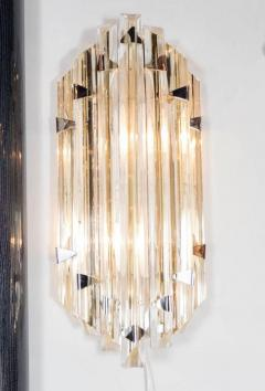 Venini Pair of Mid Century Modernist Sconces by Venini in Pale Amber Murano Glass - 1579175