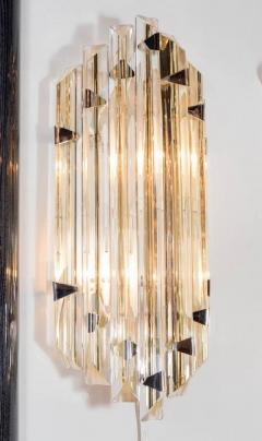 Venini Pair of Mid Century Modernist Sconces by Venini in Pale Amber Murano Glass - 1579176