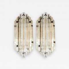 Venini Pair of Mid Century Modernist Sconces by Venini in Pale Amber Murano Glass - 1580279