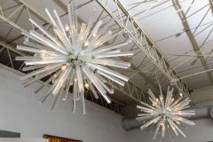 Venini Pair of Monumental Glass and Polished Chrome Chandeliers Venini - 373056