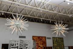Venini Pair of Monumental Glass and Polished Chrome Chandeliers Venini - 373057