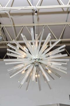 Venini Pair of Monumental Glass and Polished Chrome Chandeliers Venini - 373058