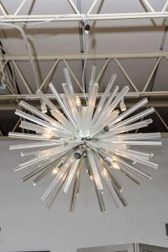 Venini Pair of Monumental Glass and Polished Chrome Chandeliers Venini - 373059