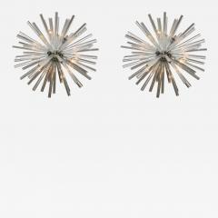 Venini Pair of Monumental Glass and Polished Chrome Chandeliers Venini - 384356