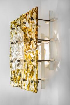 Venini Pair Of Murano Glass Patchwork Ceiling Sconces