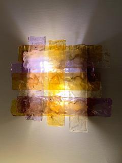 Venini Pair of Murano Glass Sconces by Venini Italy 1970s - 1164326