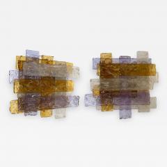 Venini Pair of Murano Glass Sconces by Venini Italy 1970s - 1165451