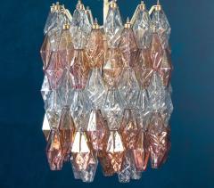 Venini Pair of Pink and Light Blu Poliedri Chandelier C Scarpa Venini Variation 1970 - 2070851