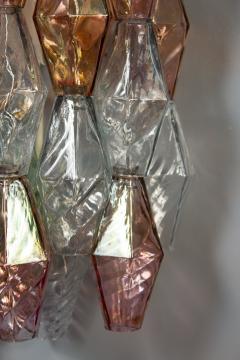 Venini Pair of Pink and Light Blu Poliedri Chandelier C Scarpa Venini Variation 1970 - 2070854