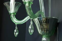 Venini Pair of Venini Style Light Green Murano Glass and Chrome Sconces Italy - 2093742