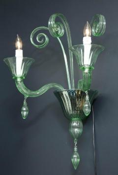 Venini Pair of Venini Style Light Green Murano Glass and Chrome Sconces Italy - 2093748