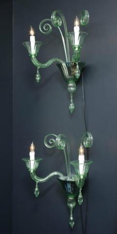 Venini Pair of Venini Style Light Green Murano Glass and Chrome Sconces Italy - 2093749