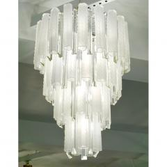 Venini Venini 1960s Cylinder Crystal and White Murano Glass Round Chandelier on Nickel - 1130086