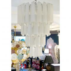 Venini Venini 1960s Cylinder Crystal and White Murano Glass Round Chandelier on Nickel - 1130088