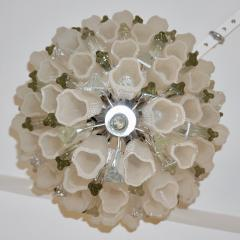 Venini Venini 1960s Cylinder Crystal and White Murano Glass Round Chandelier on Nickel - 1130090