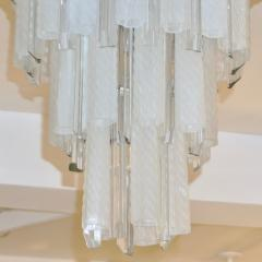 Venini Venini 1960s Cylinder Crystal and White Murano Glass Round Chandelier on Nickel - 1130091