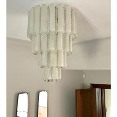 Venini Venini 1960s Cylinder Crystal and White Murano Glass Round Chandelier on Nickel - 1130092