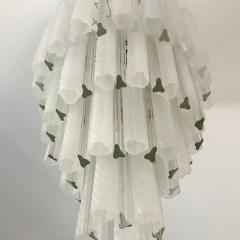 Venini Venini 1960s Cylinder Crystal and White Murano Glass Round Chandelier on Nickel - 1130093