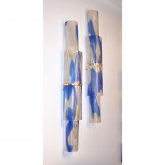Venini Venini 1960s Organic White Blue Gold Murano Glass Tall Modern Wall Lights - 1296324