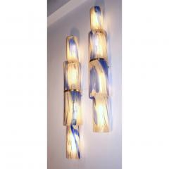 Venini Venini 1960s Organic White Blue Gold Murano Glass Tall Modern Wall Lights - 1296328