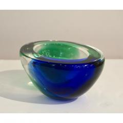 Venini Venini 1970s Italian Murano Glass Geometric Oval Blue Green Murano Glass Bowl - 1660478