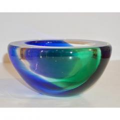 Venini Venini 1970s Italian Murano Glass Geometric Oval Blue Green Murano Glass Bowl - 1660479