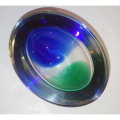 Venini Venini 1970s Italian Murano Glass Geometric Oval Blue Green Murano Glass Bowl - 1660481