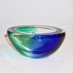 Venini Venini 1970s Italian Murano Glass Geometric Oval Blue Green Murano Glass Bowl - 1660483