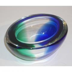 Venini Venini 1970s Italian Murano Glass Geometric Oval Blue Green Murano Glass Bowl - 1660484