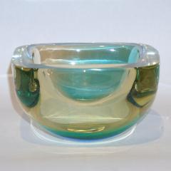Venini Venini 1970s Italian Murano Glass Geometric Yellow and Aqua Green Bowl - 483304