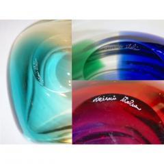 Venini Venini 1970s Italian Murano Glass Geometric Yellow and Aqua Green Bowl - 483306