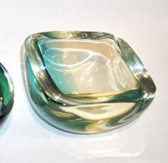 Venini Venini 1970s Italian Murano Glass Geometric Yellow and Aqua Green Bowl - 483311