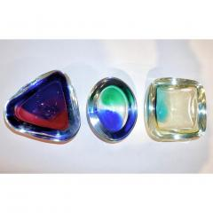Venini Venini 1970s Italian Murano Glass Geometric Yellow and Aqua Green Bowl - 483312