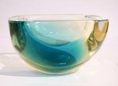 Venini Venini 1970s Italian Square Golden Yellow and Acqua Green Murano Glass Bowl - 1647058