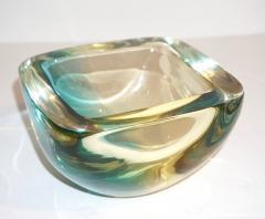 Venini Venini 1970s Italian Square Golden Yellow and Acqua Green Murano Glass Bowl - 1647059