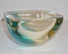 Venini Venini 1970s Italian Square Golden Yellow and Acqua Green Murano Glass Bowl - 1647060