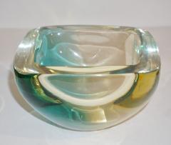 Venini Venini 1970s Italian Square Golden Yellow and Acqua Green Murano Glass Bowl - 1647061