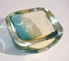 Venini Venini 1970s Italian Square Golden Yellow and Acqua Green Murano Glass Bowl - 1647062